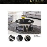 コーヒーテーブルの金属およびガラス小さい円形の黒いガラス上のコーヒーテーブル(YF-170085T)