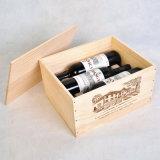Caixa da madeira de pinho da boa qualidade para o vinho de 6 frascos, 25 onças. /Bottle