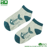 Носки лодыжки хлопка оптовой продажи картины косточки рыб