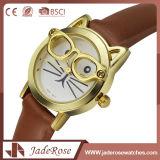 Eleganter Quarz-neue Form-Leder-Uhr