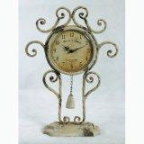حامل قفص تصميم يزيّن أثر قديم دوّار شمس معدن فنية ساعة