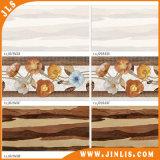 Azulejo de cerámica esmaltado flor de madera de la pared de la inyección de tinta brillante del material de construcción