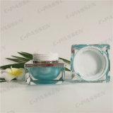 化粧品の包装のための正方形シリーズ15g青緑色のアクリルのクリーム色の瓶(PPC-ACJ-093)