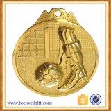 Medalla de encargo de Soccor del balompié del bronce de la plata del oro de la aleación del cinc 3D