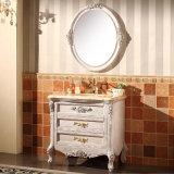 Cabina impermeable blanca de la vanidad del cuarto de baño de madera sólida de la pintura (GSP14-007)