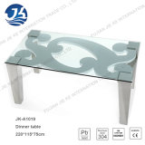 Vítreo oval mesa de café con piernas de acero inoxidable (Jk-A1004