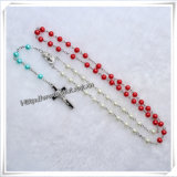 Großhandelsgebet-neuestes katholisches Glasrosenbeet, Glasumlauf bördelt Halskette (IO-cr365)