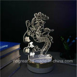 Caliente-Venta de la luz eléctrica del dormitorio 3D de la decoración con la base de oro del ABS con el estilo animal