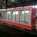 Rote Farben-Glastür-aufrechte Gefriermaschine exportierte nach Fidschi für Supermarkt-Bildschirmanzeige
