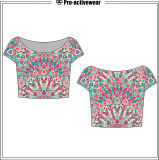 نساء نيلون طفح جلديّ حارس قصيرة كم عادة ضغطة قميص