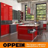 Armário lustroso elevado vermelho da cozinha da laca do estilo industrial moderno (OP16-L25)