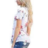 형식 여자 꽃에 의하여 인쇄된 t-셔츠는 블라우스를 입는다