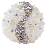 石(夢100087)が付いているサテン白かシャンペンローズの花の花嫁の結婚式の花束