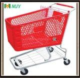 Carrito de compras de plástico de supermercado de 180 litros
