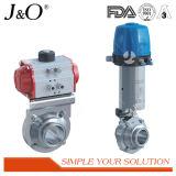 Válvula de borboleta pneumática sanitária do aço inoxidável