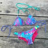 Kundenspezifischer Frauen-Strand-Abnützung-fälliger Badeanzug-zweiteilige Bikini-Frauen-Badebekleidung