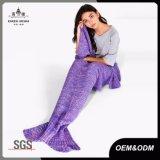 Couverture tricotée de poissons d'arrière de sirène
