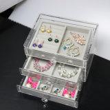 3 gavetas cancelam o organizador acrílico do armazenamento da jóia