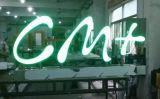 Las cartas modificadas para requisitos particulares venta al por menor del metal del brillo 3D que hacen publicidad del acero inoxidable ponen letras a la muestra