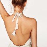 Robe Backless de broderie de femmes de mode de V-Collet d'arrêt de bandage mince sexy de dessus