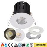 8W IP65 Waterproof a luz avaliada do chuveiro do diodo emissor de luz do banheiro incêndio claro com a moldura mutável