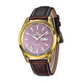 relojes del cuero del cuarzo de Caseback del acero inoxidable 316L