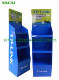 Blauer Pappausstellungsstand mit 3 Regalen für Fräser