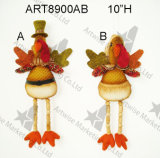 "10 "" H Boy & Girl Turchia Ornament con Wood Bead Legs-2asst-Harvest Decoration"