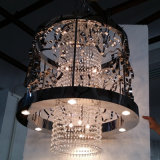 China Discount Classical Black Metal Hollow Hanging Crystal Chandelier