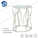 Edelstahl-sechseckiger Enden-Tisch mit Bereifen-Glas