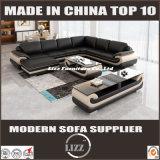 オットマンが付いている現代上のグレーンレザーの居間のソファー