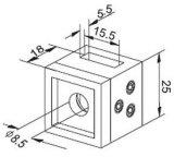 Montage van de Buis van de Houder van de dwarsStaaf de Vierkante voor de Balustrade van het Traliewerk van de Trede
