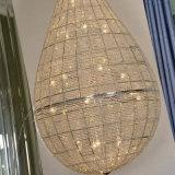 Lampada Pendant di cristallo di lusso K9 dell'hotel di figura di goccia dell'acqua