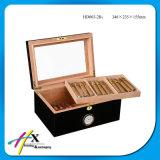 Schwarze Lack-Ende-Zeder-Luftfeuchtigkeitsregler-Geschenk-Zigarrenschachtel mit Fenster
