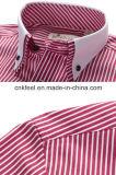 Camisa de algodón de la raya con el collar y el pun¢o del contraste