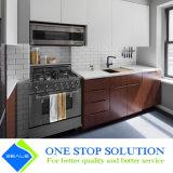 Impiallacciatura dorata del Combine su ordinazione e mobilia bianca degli armadi da cucina di rivestimento della lacca (ZY 1063)