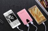 O banco da potência do carregador portátil Fram de alumínio LCD do telefone da tampa do couro de 10400 mAh