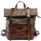 Mucca Leather Handbag e Canvas Man Fashion Backpack (RS-1008-H)