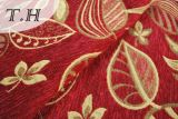 2016 100% Polyester Tissu Rouge Feuilles d'Or Canapé Chenille Jacquard