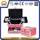 Cassa di alluminio marrone rossiccio alla moda di trucco di bellezza con il cassetto (HB-2015)