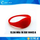 RFID 13.56MHz 1k ISO 14443薄いシリコーンのブレスレット