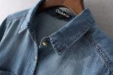 Soem Drehen-Unten Kragen einzelnes Breasted unregelmäßiges unteres Denim-Hemd