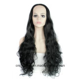 Le noir de mode longtemps courbe 3/4 demi de perruque principale de synthétique de perruque