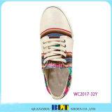 Colourfuleのストリップが付いている女性のズック靴は印刷した