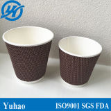 Изготовленный на заказ Logo Printed Disposable Ripple Paper Coffee Cup с Lids