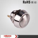 Commutateur de bouton poussoir momentané principal voûté d'acier inoxydable du diamètre 12mm mini
