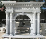 Yellow Marble Statue Fireplace Mantel