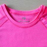 Desgaste largo rosado de los deportes de la camisa de la mujer de la camisa de la funda