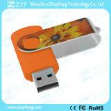 Festival Gift Orange Swivel Plastic 8GB USB Disk com logotipo personalizado (ZYF1817)