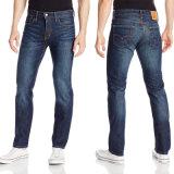 Jeans blu del denim del cotone diritto su ordinazione di modo per gli uomini